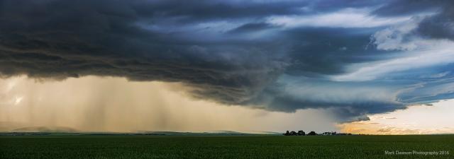 Heavy storms line the horizon.